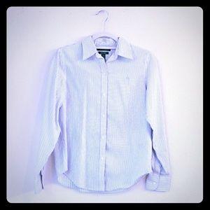Striped button-down shirt, white, black and blue